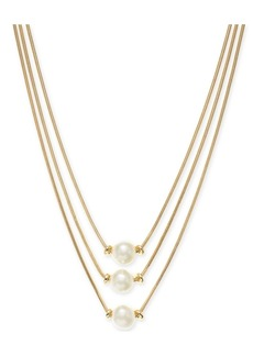 "Alfani Gold-Tone Imitation Pearl Three-Row Necklace, 17"" + 2"" extender, Created for Macy's"