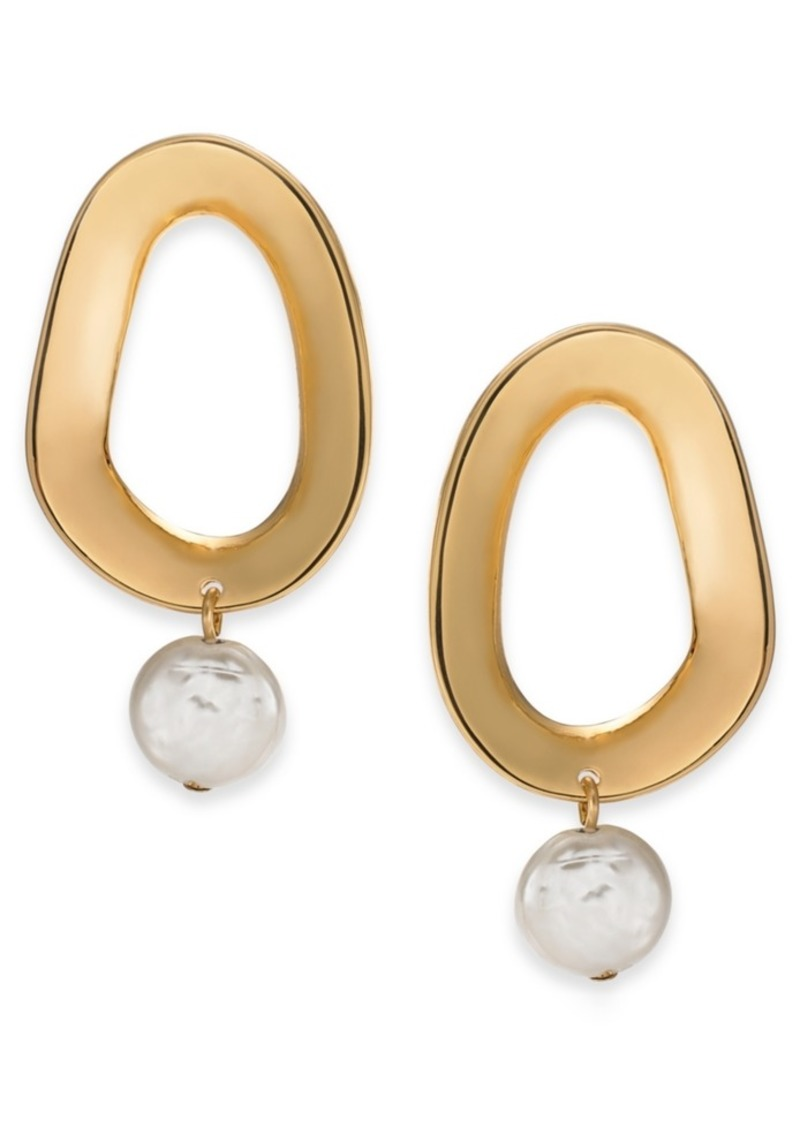 Alfani Gold-Tone Link & Imitation Pearl Drop Earrings, Created For Macy's