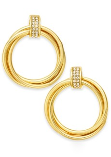 Alfani Gold-Tone Pave Ring Hoop Earrings, Created for Macy's