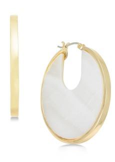 Alfani Gold-Tone Stone Hoop Earrings, Created for Macy's
