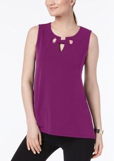 Alfani Petite Split-Neck Top, Created for Macy's