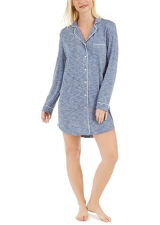 Alfani Cozy Knit Button-Front Sleep Shirt, Created For Macy's
