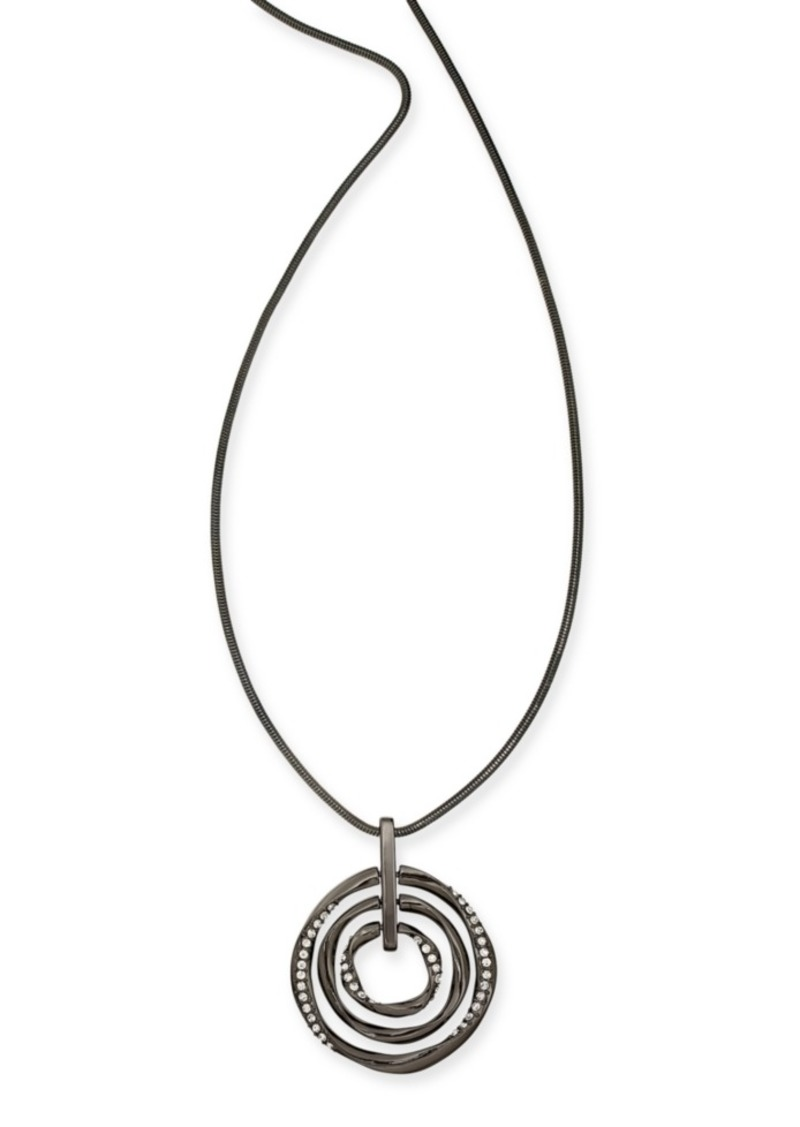 "Alfani Hematite-Tone Pave Multi-Circle Pendant Necklace, 36"" + 2"" extender, Created For Macy's"