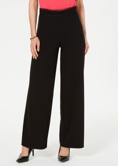 Alfani High-Waist Crochet-Trim Pants, Created for Macy's