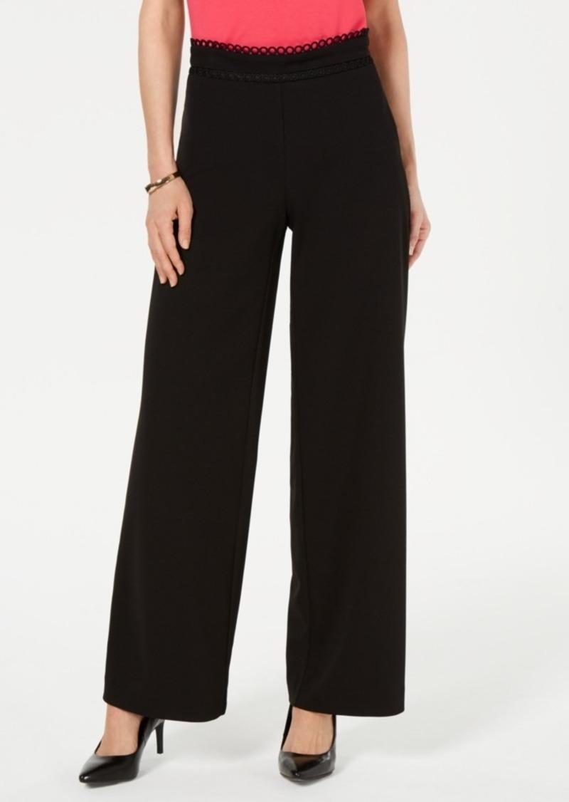 Alfani High-Waist Crochet-Trim Pants, Created for Macy's