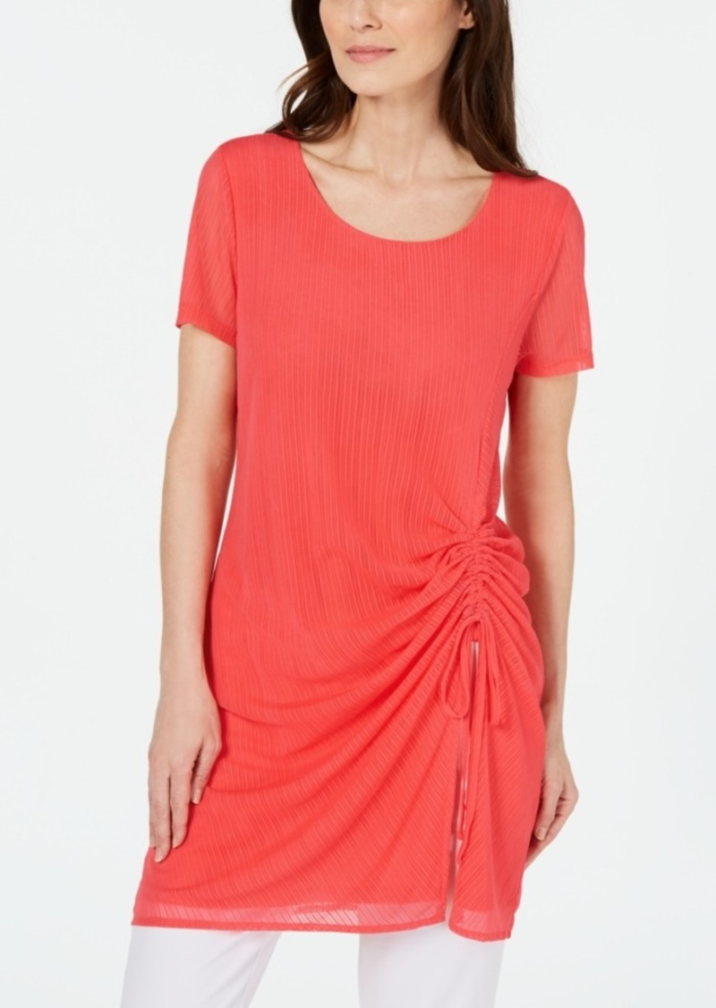 Alfani Illusion-Stripe Side-Ruched Tunic Top, Created for Macy's