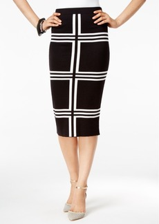 Alfani Knit-Pattern Pull-On Midi Skirt, Only at Macy's