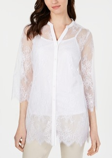 Alfani Lace Button-Up Tunic, Created for Macy's