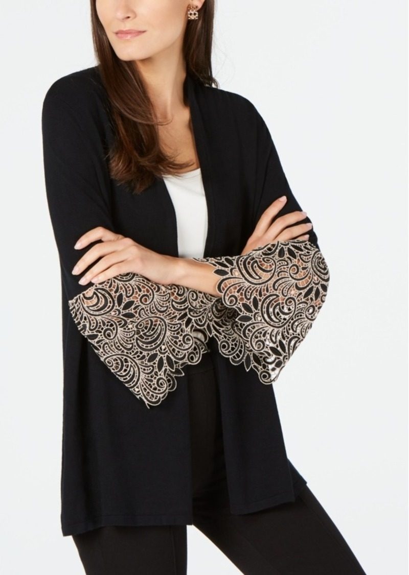 Alfani Petite Lace-Cuff Cardigan, Created for Macy's