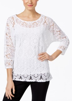 Alfani Lace High-Low Hem Blouse, Only at Macy's
