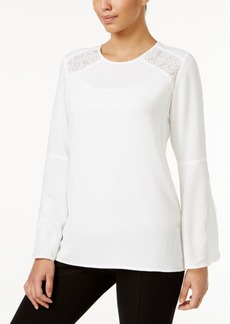 Alfani Lace-Inset Top, Created for Macy's
