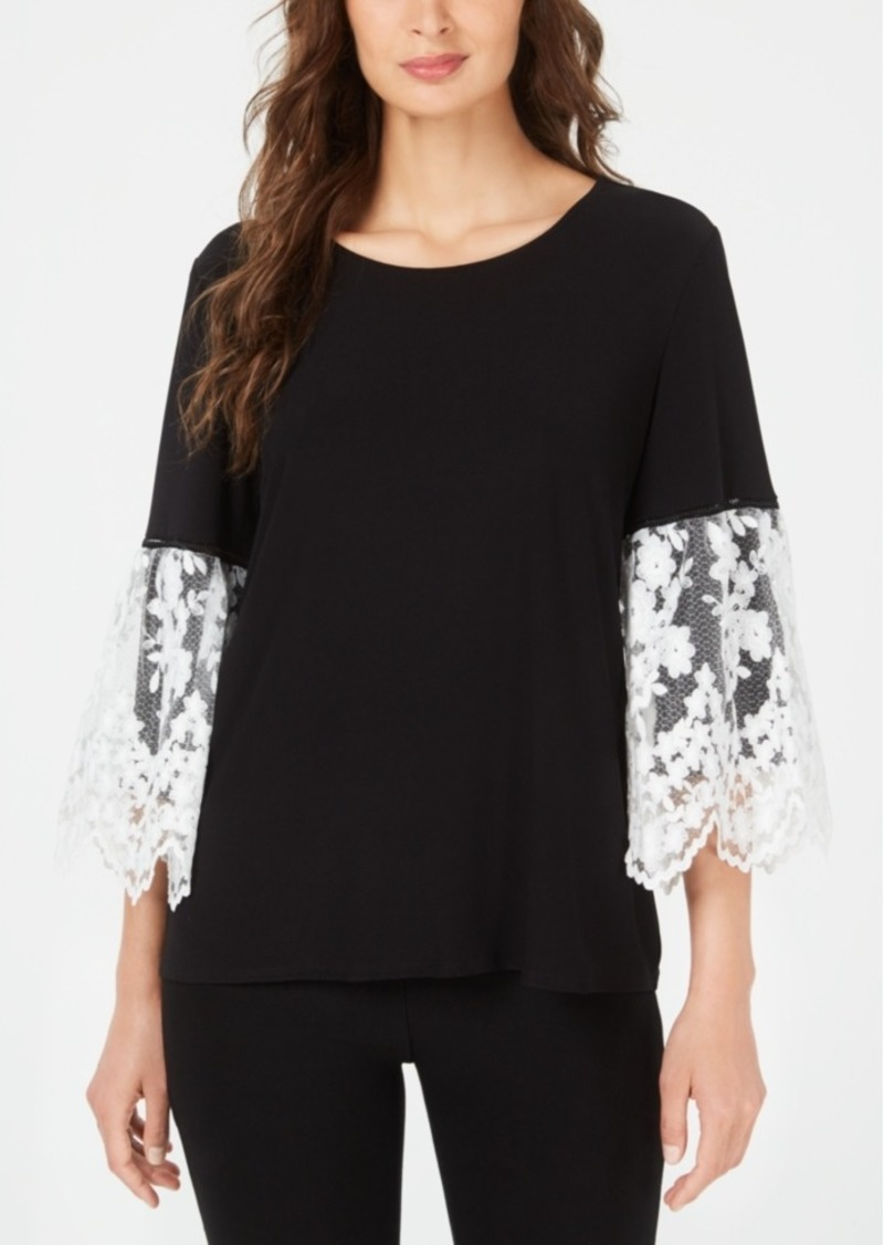 Alfani Lace-Sleeve Top, Created for Macy's