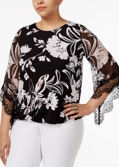 Alfani Plus Size Lace-Trim Angel-Sleeve Blouson Top, Only at Macy's