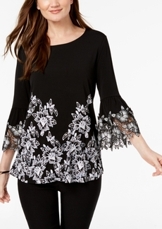 Alfani Petite Printed Crochet-Sleeve Top, Created for Macy's