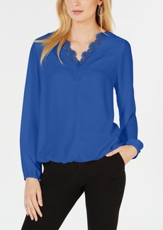 Alfani Lace-Trim Blouson-Sleeve Top, Created for Macy's