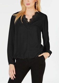 Alfani Lace-Trim Blouson-Sleeve Top, Created for Macy's
