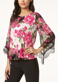 Alfani Petite Printed Lace-Trim Top, Created for Macy's