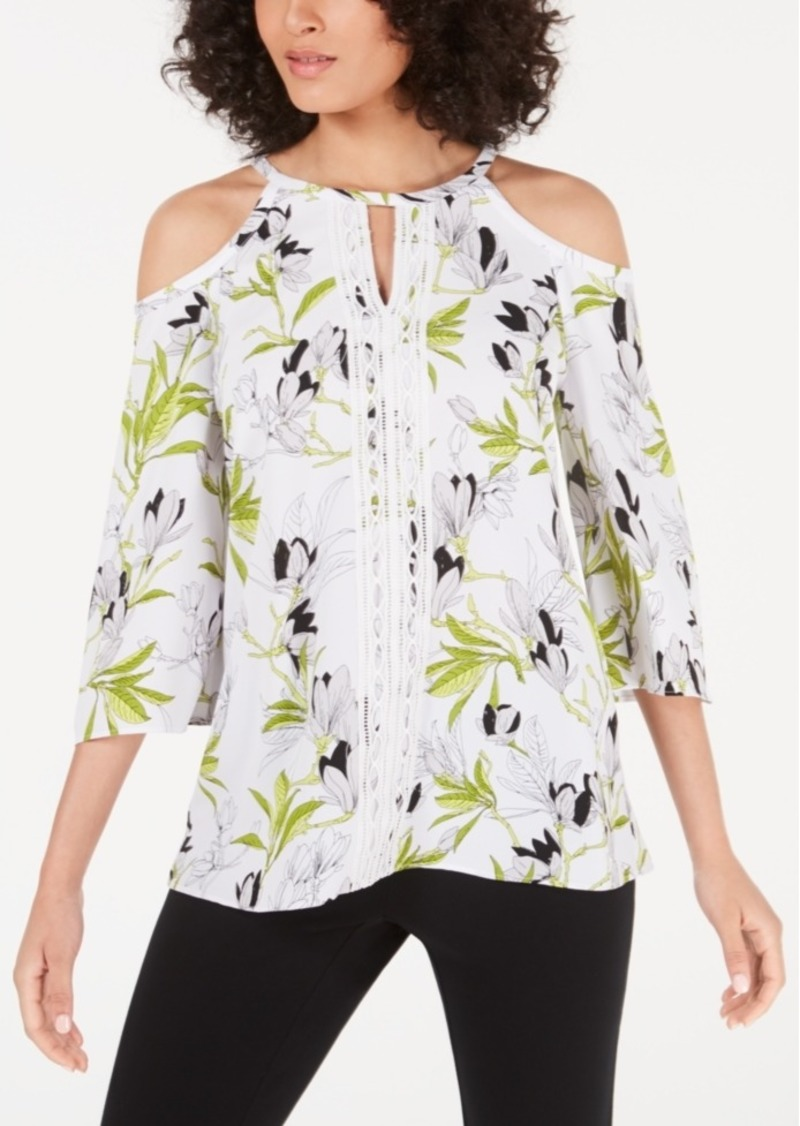 Alfani Lace-Trim Cold-Shoulder Top, Created for Macy's