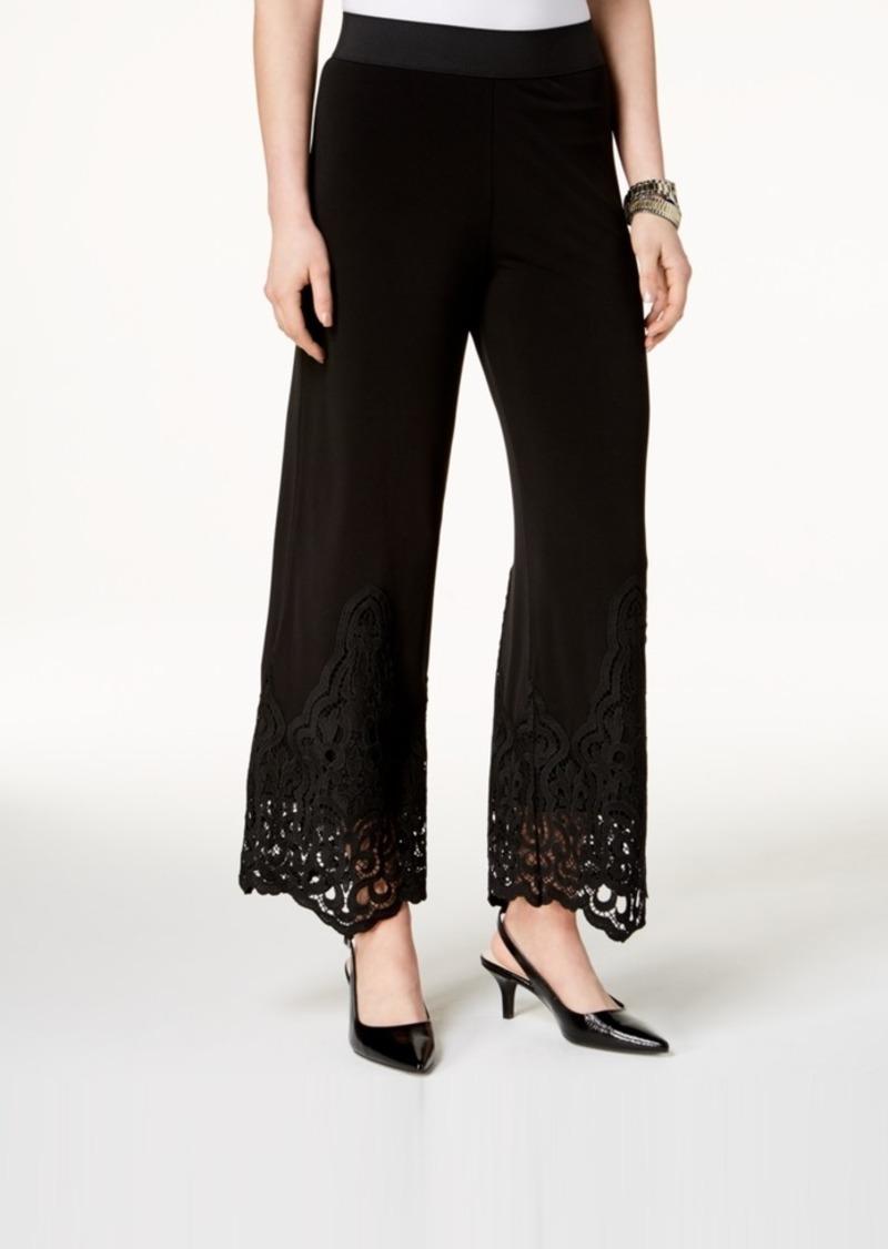 Alfani Petite Lace-Hem Wide-Leg Pants, Created for Macy's