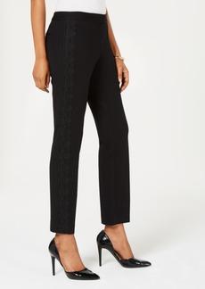 Alfani Petite Tummy-Control Lace-Trim Pants, Created for Macy's