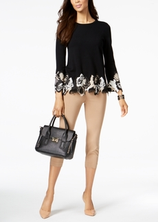 Alfani Petite Lace-Trim Top, Created for Macy's
