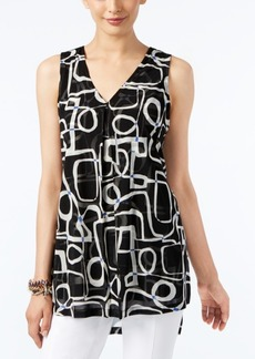 Alfani Petite Printed V-Neck High-Low Swing Top, Only at Macy's