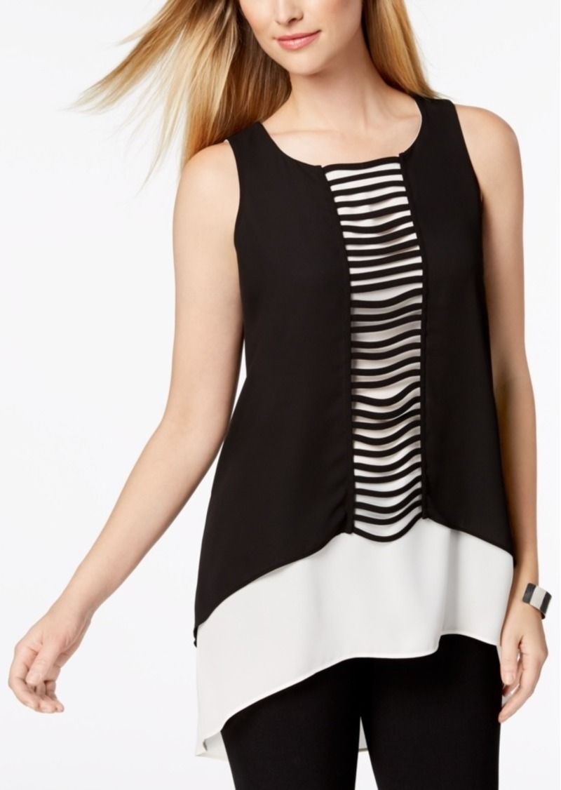 Alfani Layered-Look Ladder-Detail Top, Created for Macy's