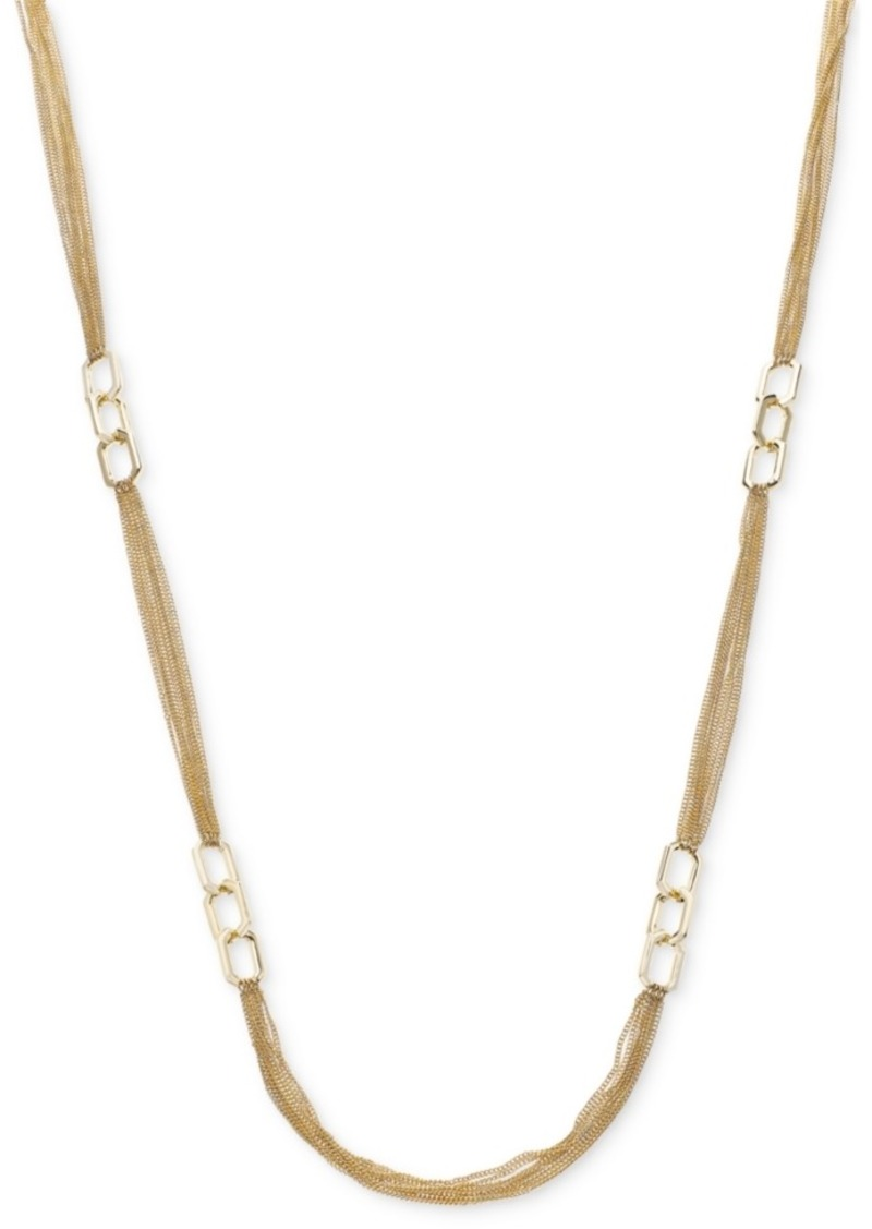 "Alfani Link & Multi-Chain Strand Necklace, 42"" + 2"" extender, Created For Macy's"