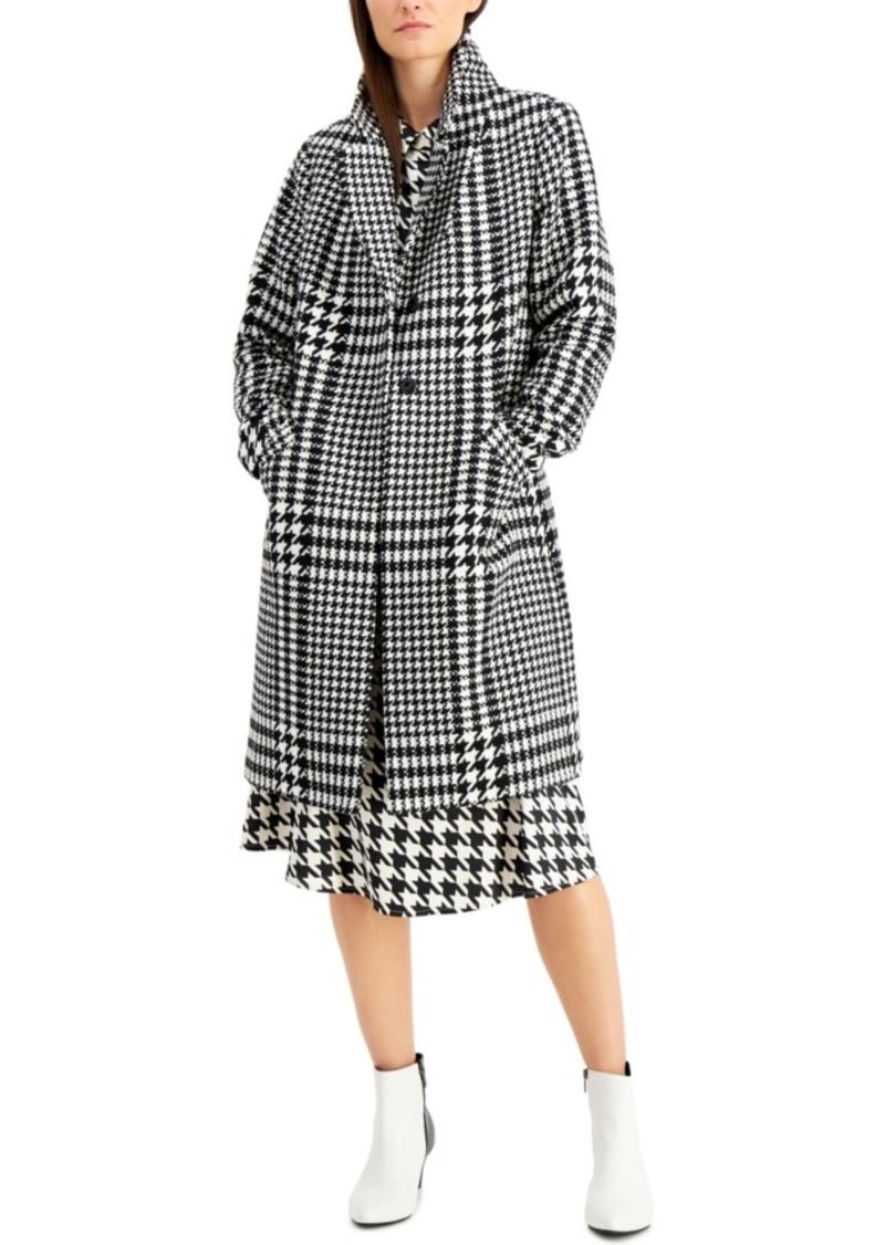 Alfani Long Houndstooth-Print Coat, Created for Macy's