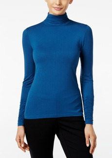 Alfani Long-Sleeve Ruched Turtleneck Top