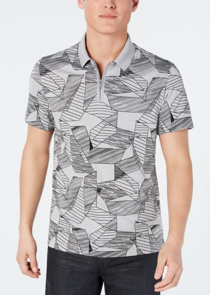 Alfani Men's Abstract-Print Quarter-Zip Polo, Created for Macy's