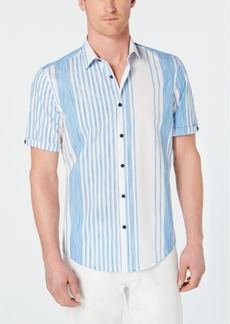 Alfani Men's Stretch Alvin Large Stripe Short Sleeve Shirt, Created for Macy's