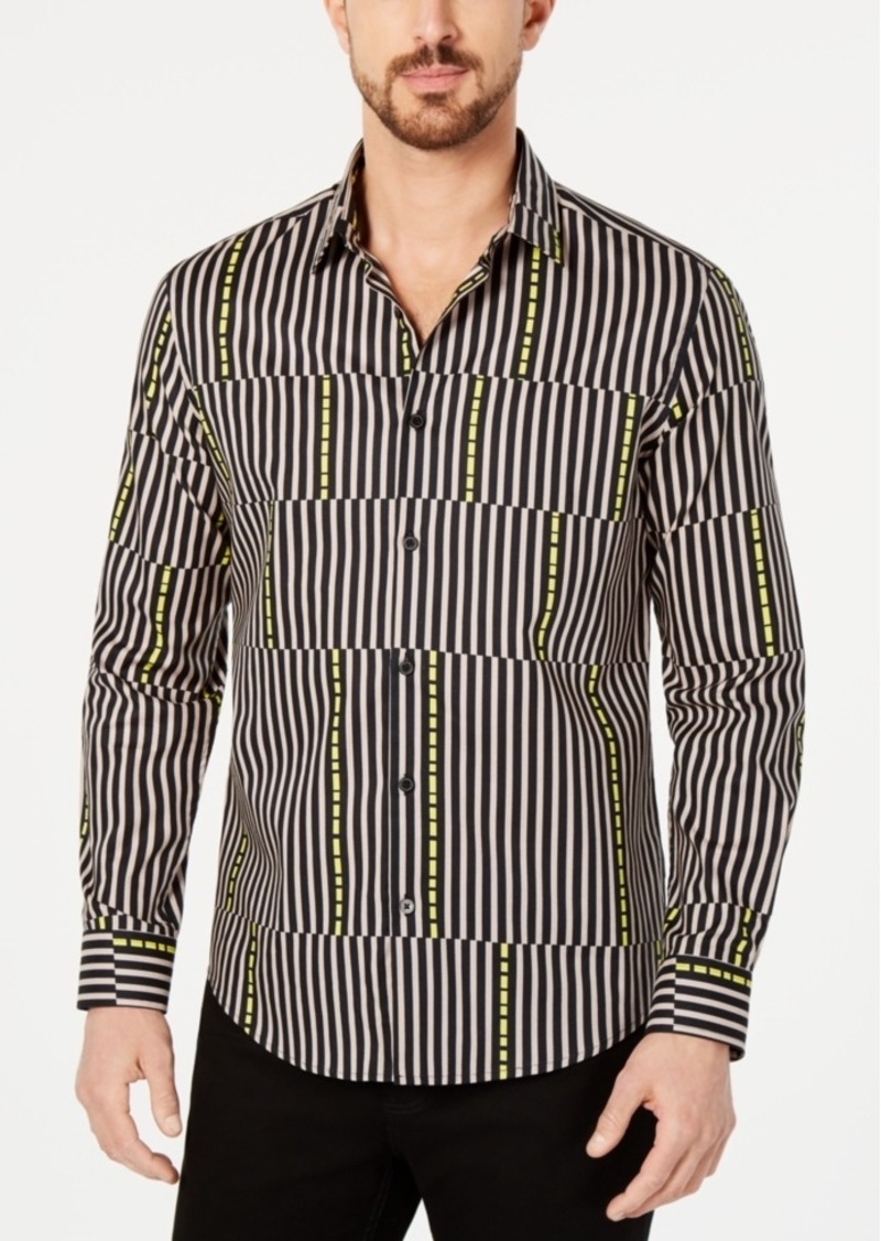 Alfani Men's Asymmetrical Striped Shirt, Created for Macy's