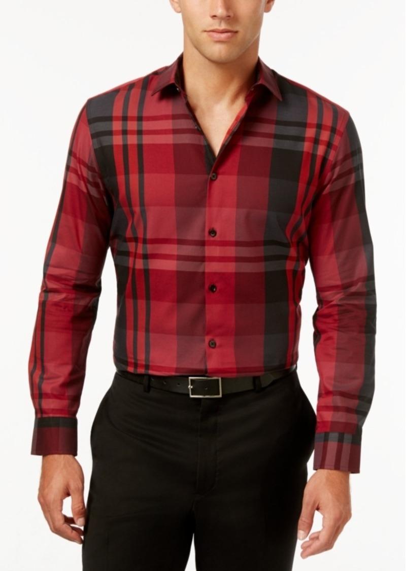 Alfani Men's Big & Tall Derby Plaid Long-Sleeve Shirt, Only at Macy's