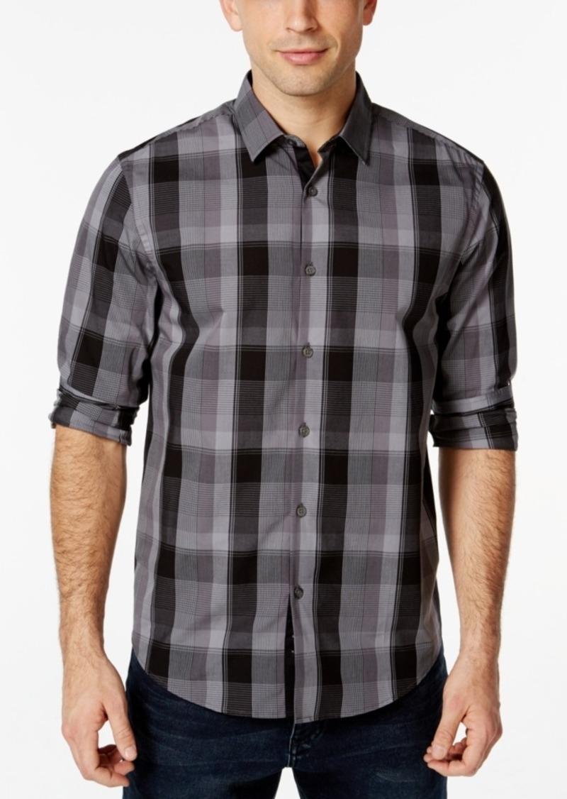 Alfani Men's Big & Tall Plaid Long-Sleeve Shirt, Only at Macy's