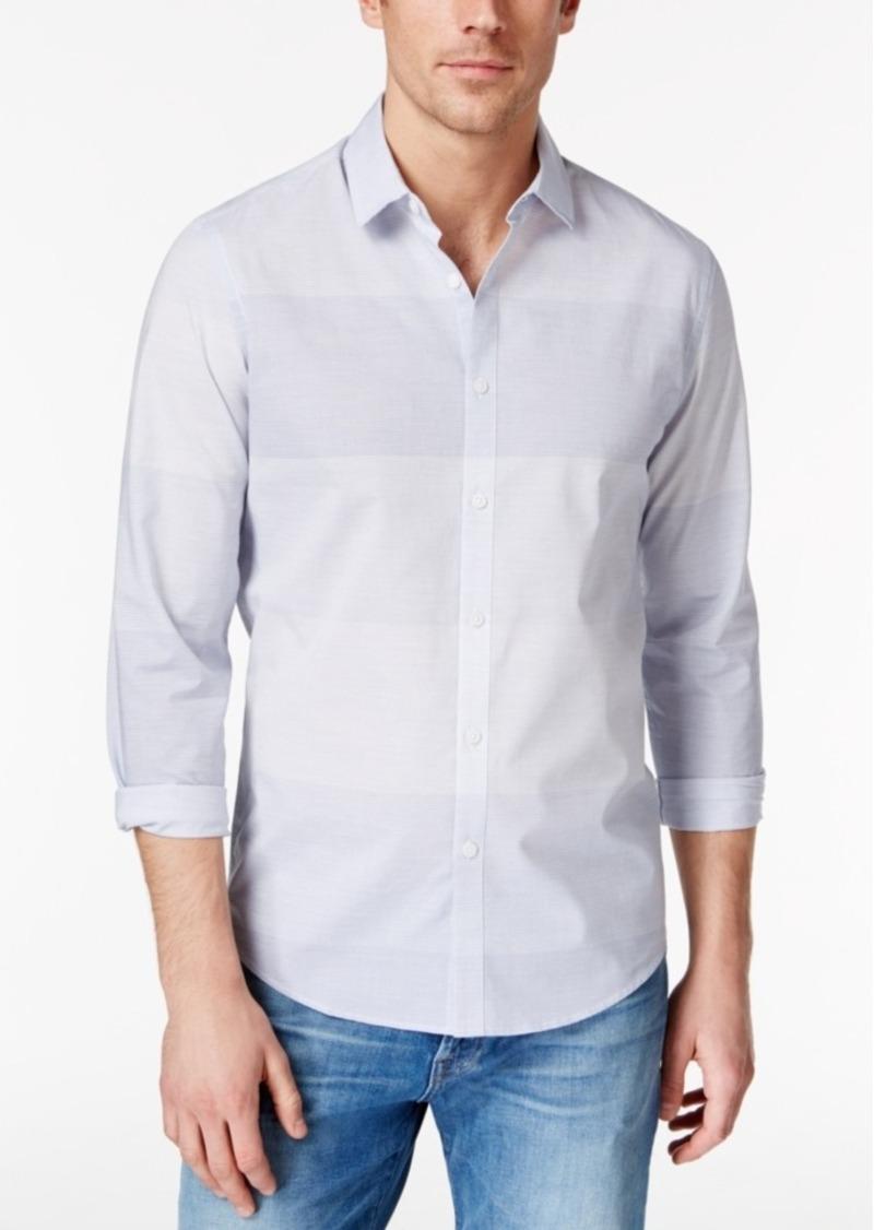Alfani Men's Big & Tall Renens Blocked Stripe Slim Long-Sleeve Shirt, Only at Macy's