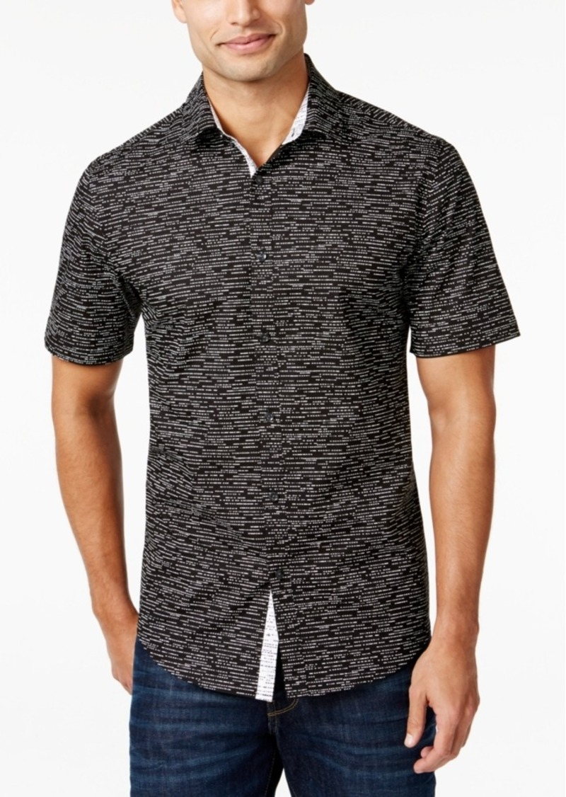 Alfani Men's Big & Tall Slim Contrast-Trim Dash-Print Short-Sleeve Shirt, Only at Macy's