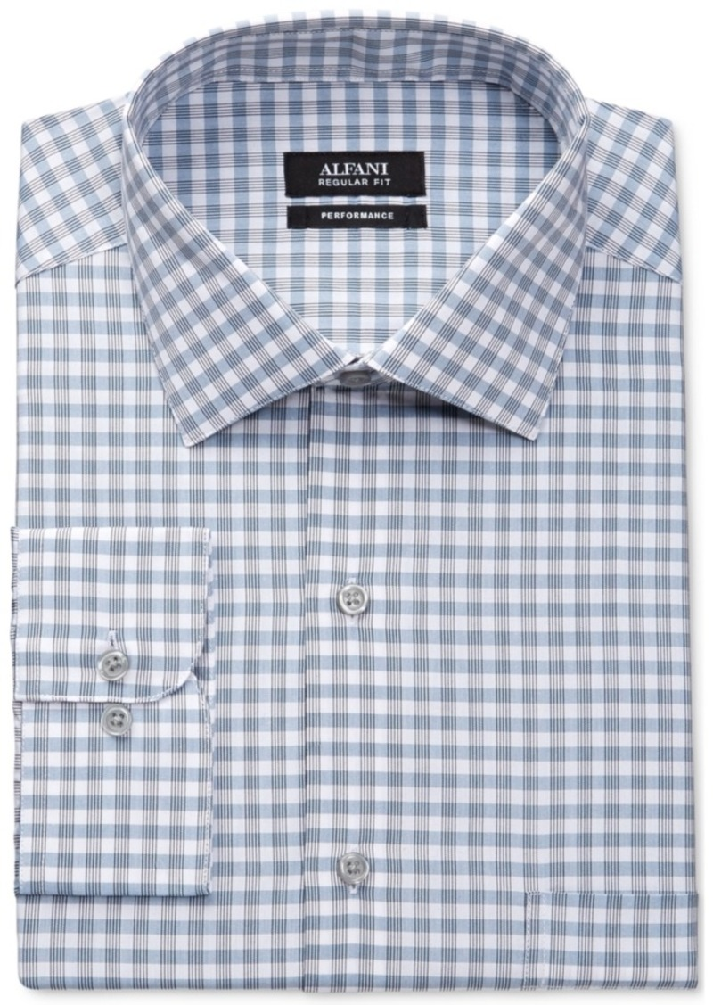 Alfani Big and Tall Men's Performance Mallard Blue Line Gingham Dress Shirt, Only at Macy's