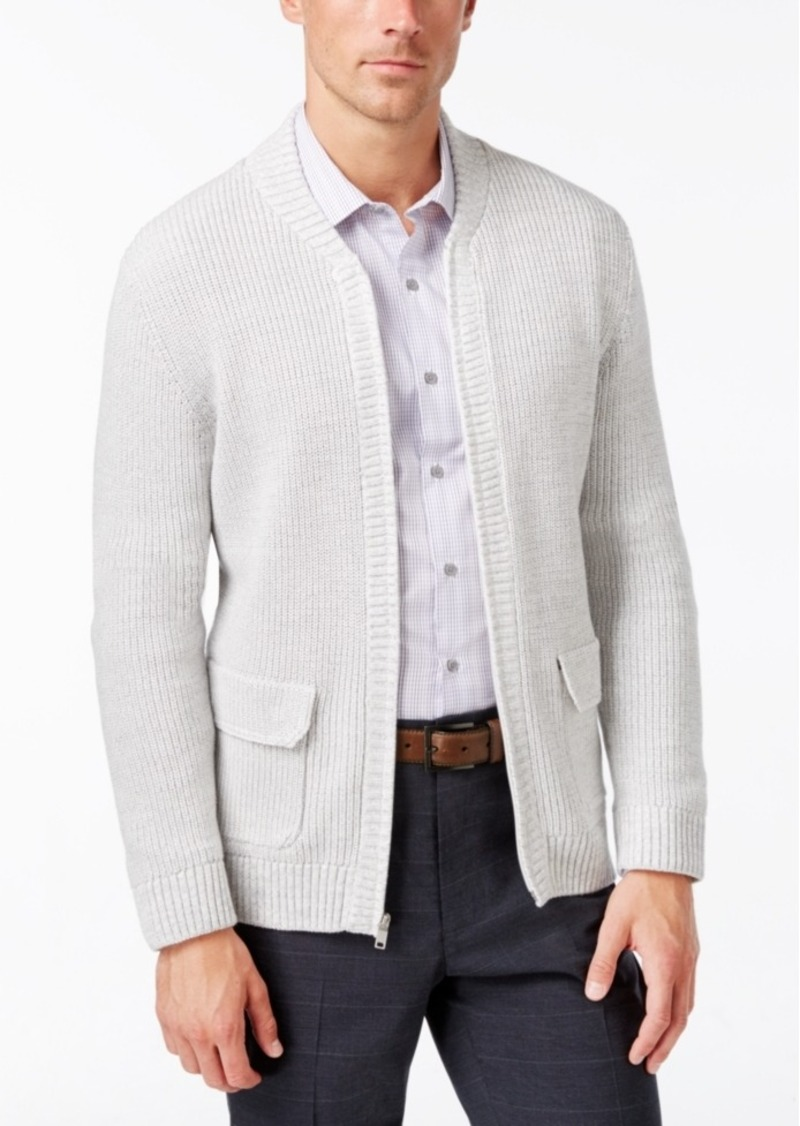 Alfani Alfani Men's Big and Tall Flap-Pocket Full-Zip Cardigan ...