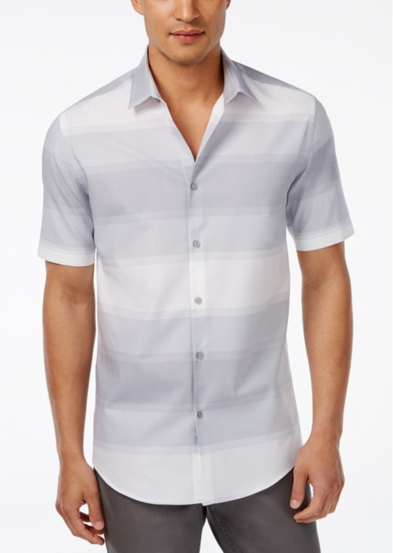 Alfani Men's Big and Tall Horizontal-Stripe Short-Sleeve Shirt, Only at Macy's