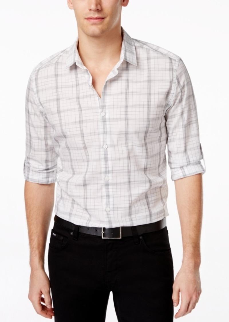 Alfani Men's Big and Tall Long Sleeve Mason Twilight Plaid Shirt, Only at Macy's