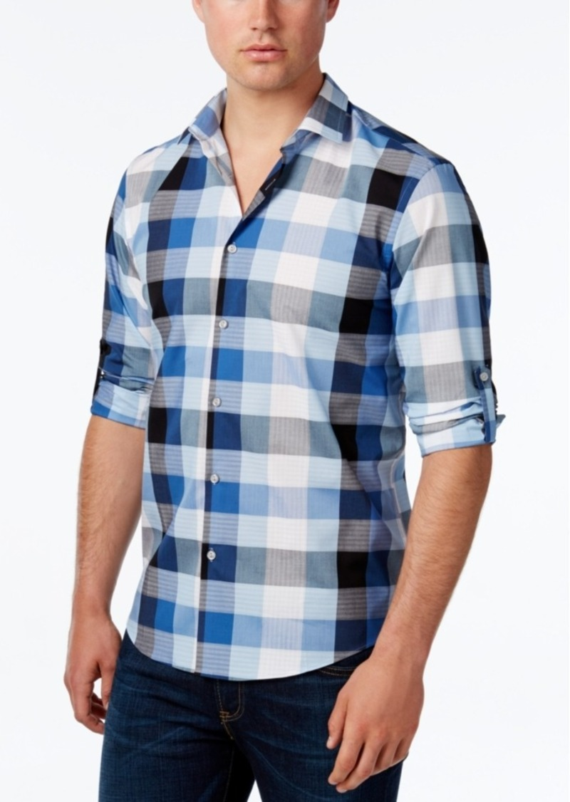 Alfani Men's Big and Tall Long Sleeve Plaid Shirt, Only at Macy's