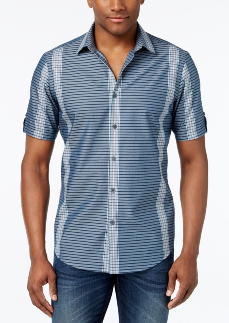 Alfani Men's Big and Tall Multi-Stripe Short-Sleeve Shirt, Only at Macy's