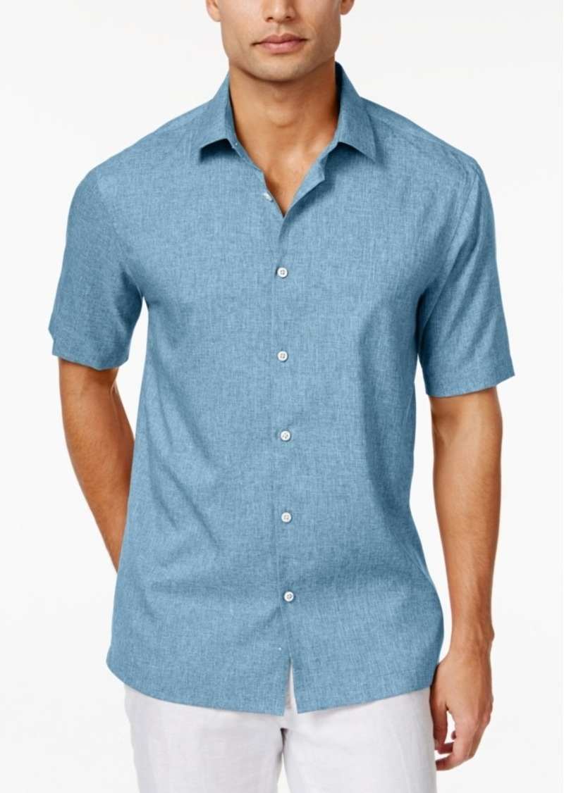 Alfani Men's Big and Tall Short-Sleeve Two-Tone Solid Shirt, Only at Macy's