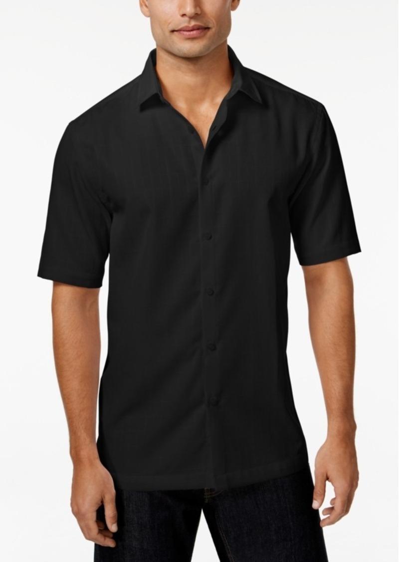 Alfani Men's Big and Tall Textured Grid-Pattern Short-Sleeve Shirt