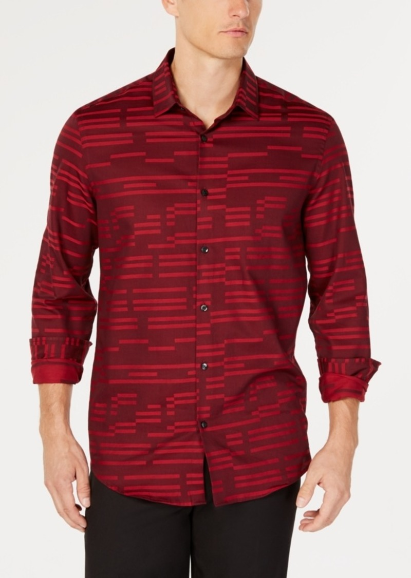 Alfani Men's Broken Stripe Jacquard Shirt, Created for Macy's