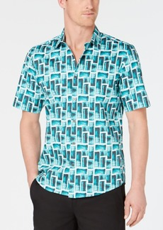 Alfani Men's Stretch Brushed Block Shirt, Created for Macy's