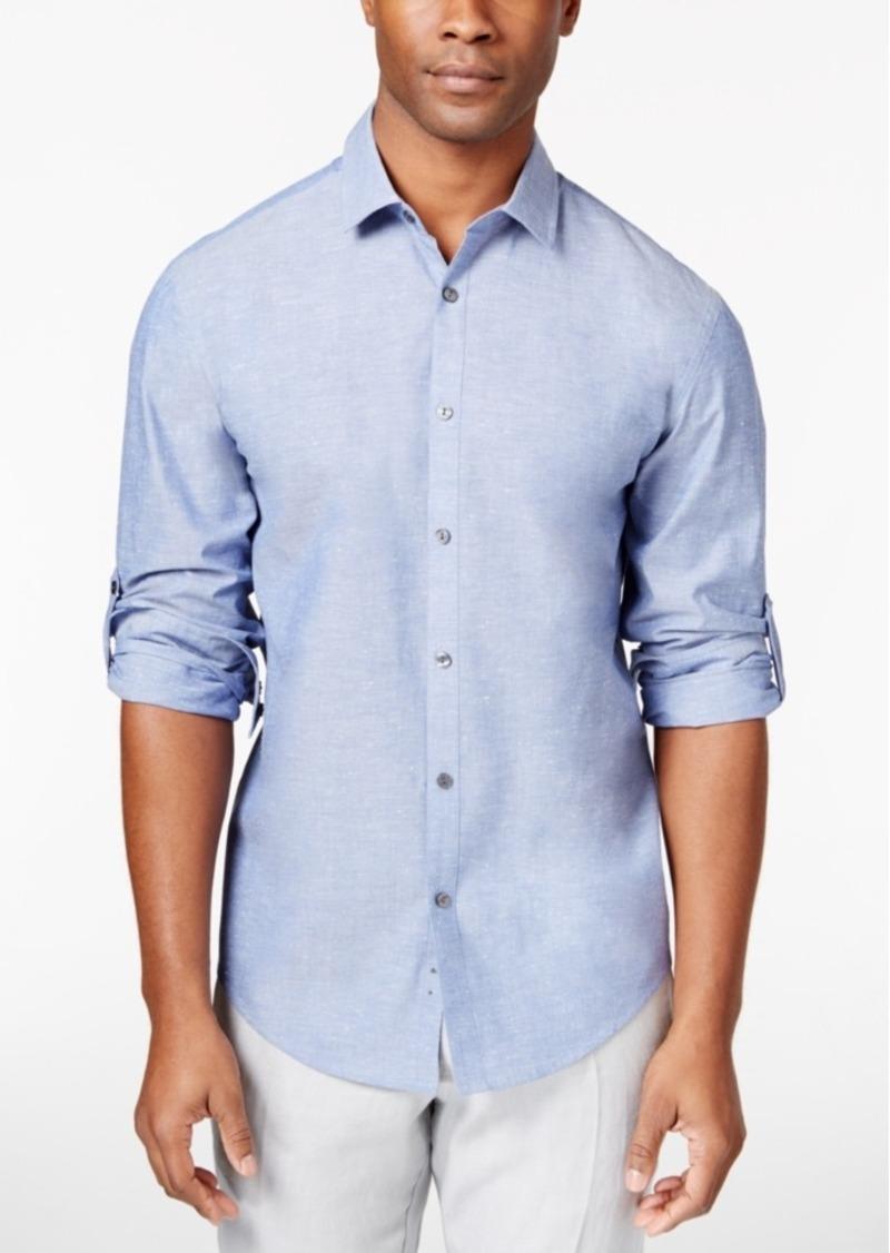 Alfani Men's Big & Tall Chambray Long-Sleeve Shirt, Only at Macy's