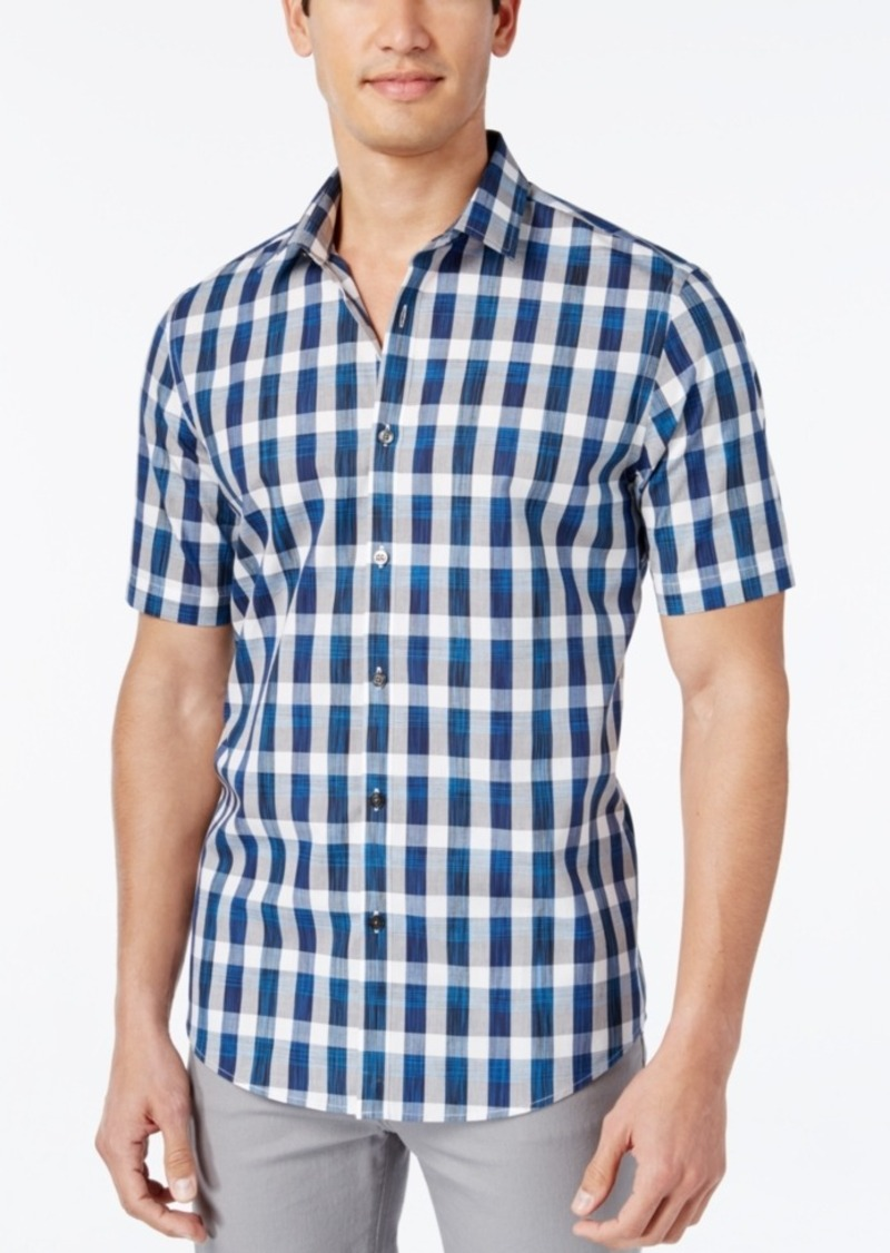 Alfani Men's Check Short-Sleeve Shirt, Slim Fit, Only at Macy's