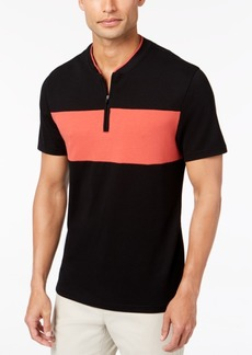 Alfani Men's Colorblocked Baseball-Neck Zip Polo, Created for Macy's